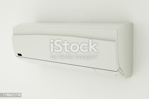 istock Split-system air conditioner on white wall. 3D illustration 1139421778