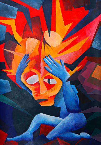 splitting headache - tuval üzerine akrilik stok fotoğraflar ve resimler