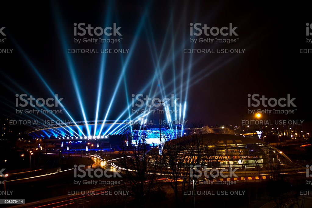 Spodek - sport and cultural arena in Katowice, Poland. stock photo