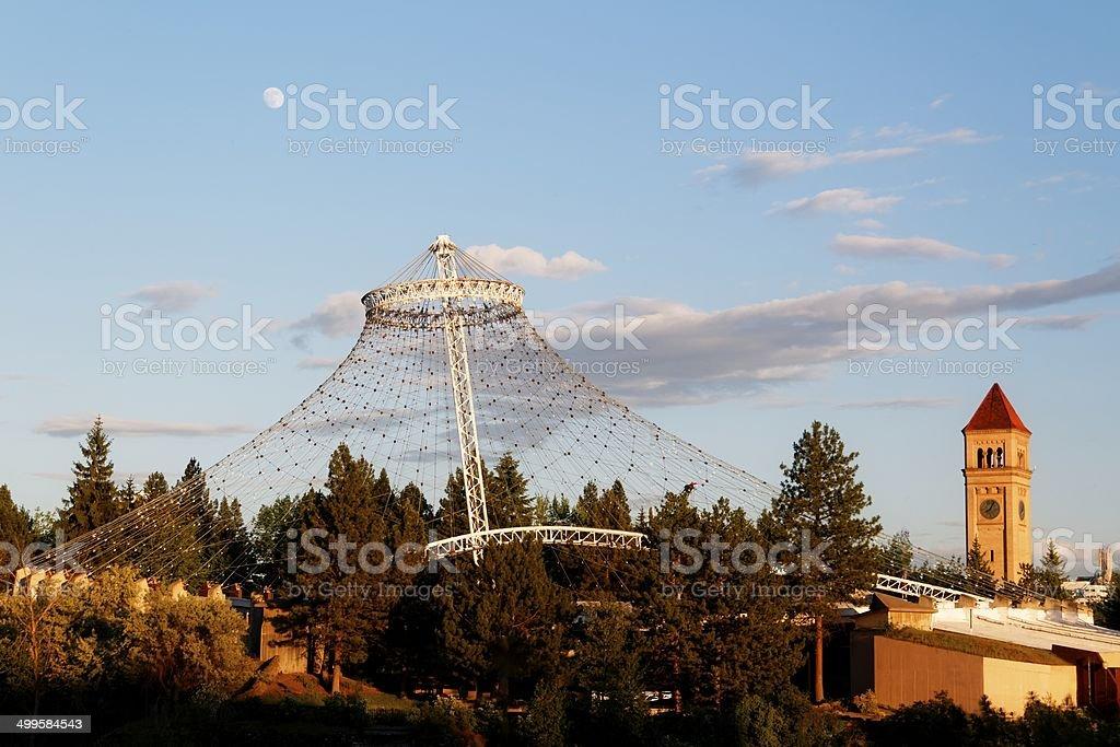 Spokane Pavilion and Clock Tower stock photo