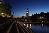 Spokane river and clock tower at night.