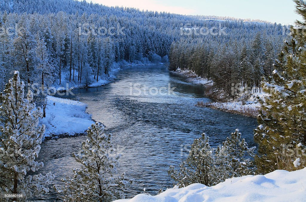 Spokane River Flowing Through a Snowy Forest stock photo