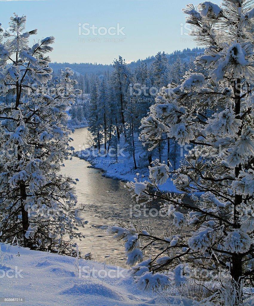 Spokane River in Winter stock photo