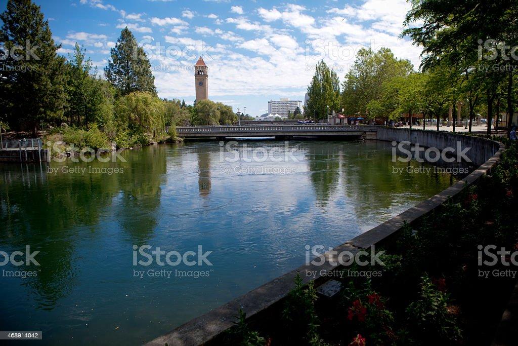 Spokane RiverFront walk stock photo