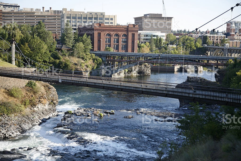 Spokane Washington Bridges And Waterfall stock photo