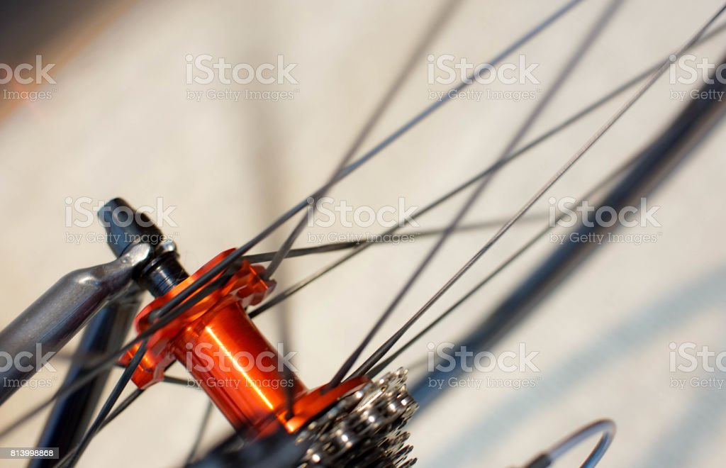 spokes and hub of rear bicycle wheel stock photo