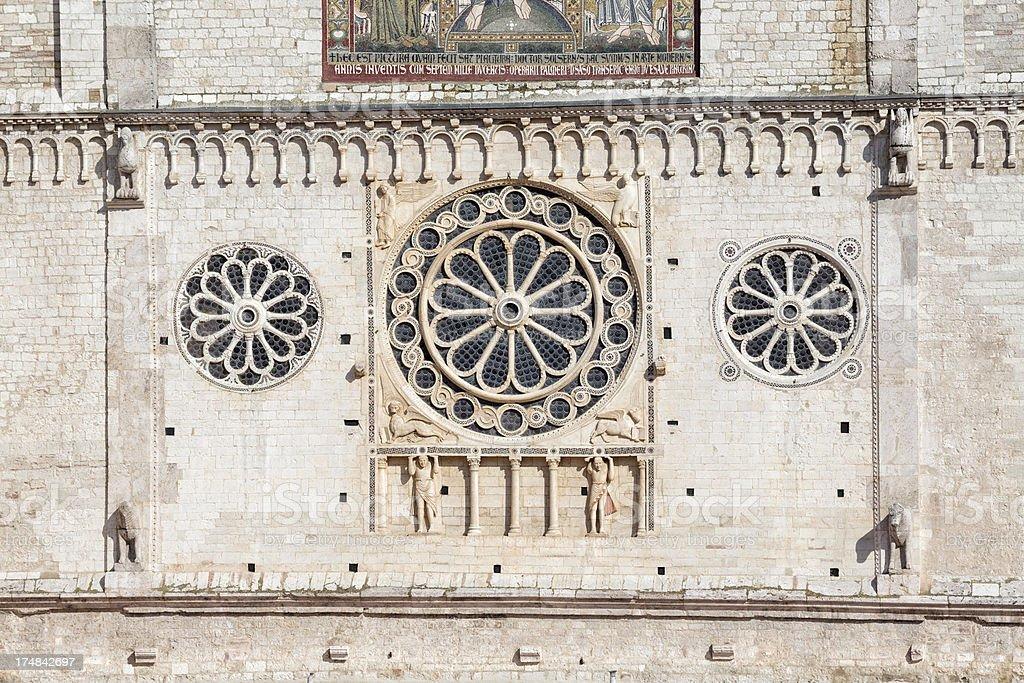 Spoleto Cathedral facade rose window, Umbria Italy royalty-free stock photo