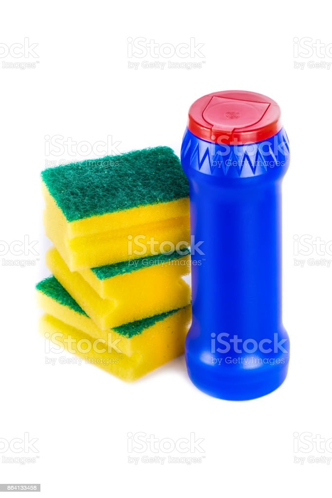 Sponge and powder for dishes washing royalty-free stock photo