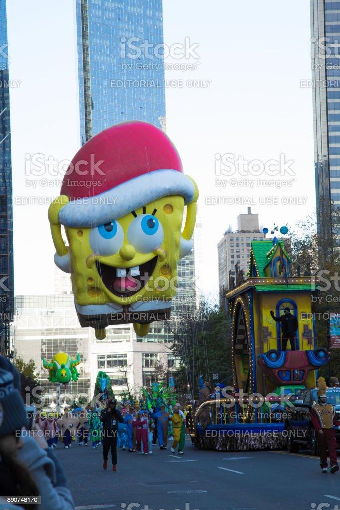 Esponja Bob Squarepants no desfile de ação de Graças - foto de acervo