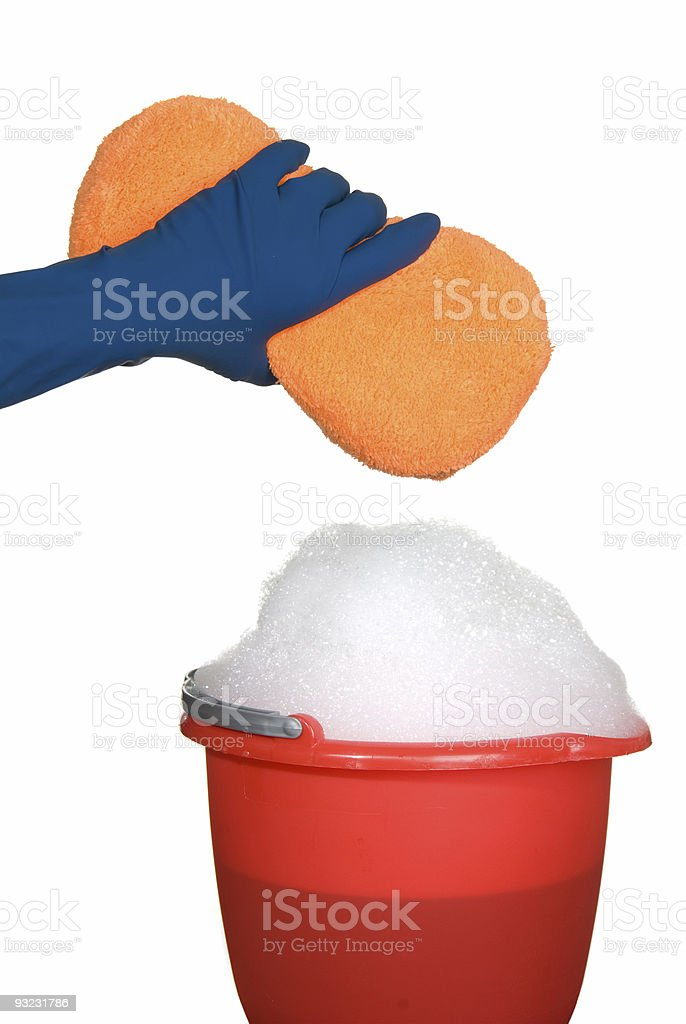 Sponge, bucket and soapy water stock photo
