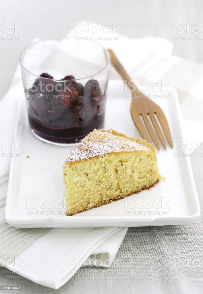 sponge cake with berry sauce aside royalty-free stock photo