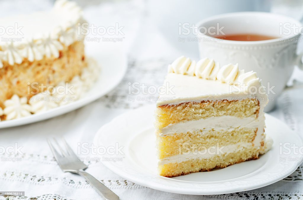 Sponge cake with butter cream stock photo