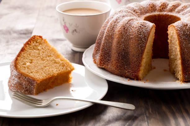 Sponge cake with coffee with milk stock photo