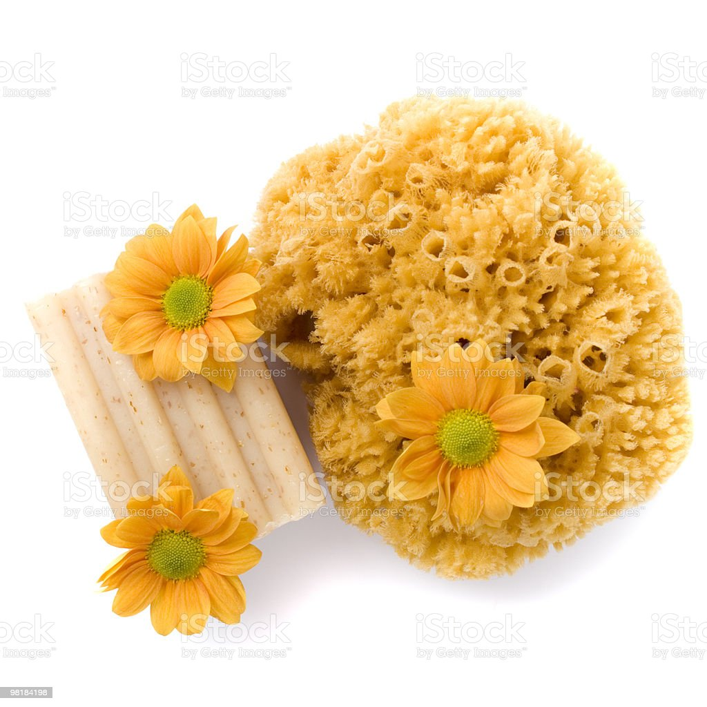 sponge, soap and flowers royalty-free stock photo