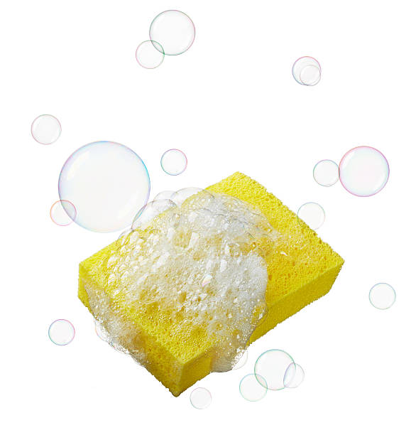 sponge with soaps and bubbles stock photo