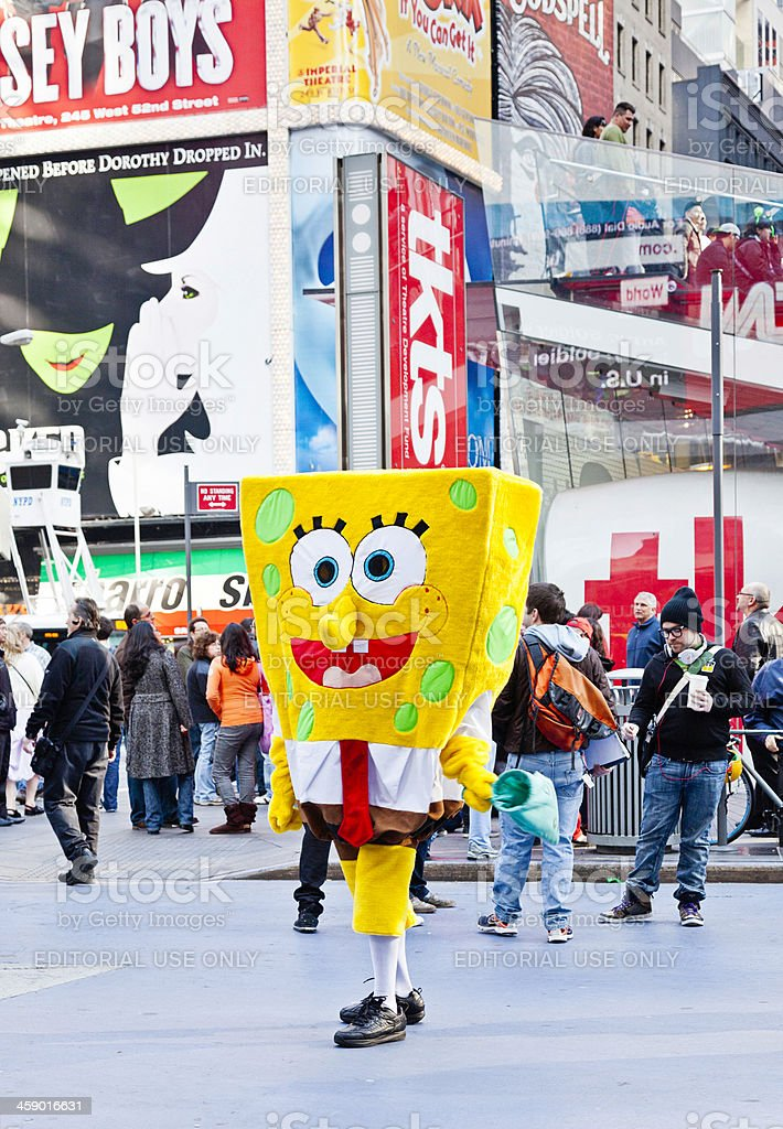 Bob Esponja Calça Quadrada na Times Square - foto de acervo