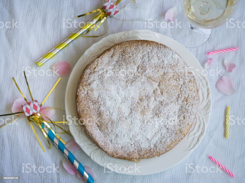 Spongecake Celebration with White Wine - Royalty-free Cake Stock Photo