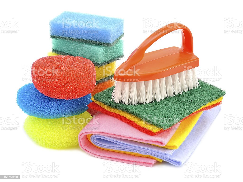 Sponges and brushes for cleaning royalty-free stock photo
