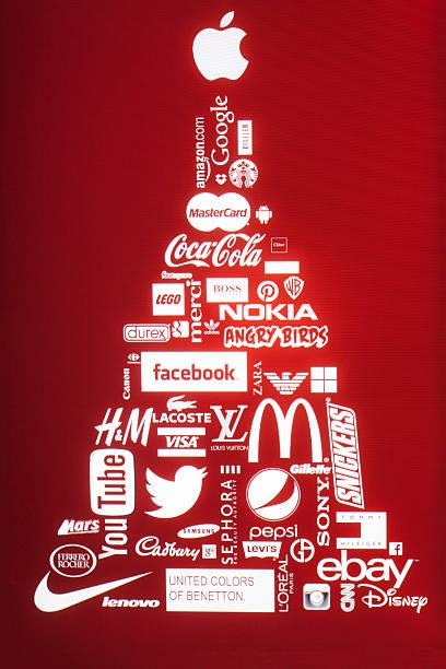 sponsoren of christmas-englische redewendung - foto collage geschenk stock-fotos und bilder