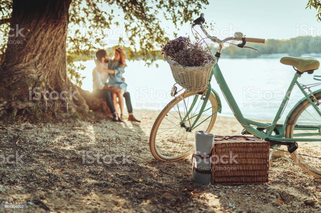 A spontaneous picnic for two stock photo