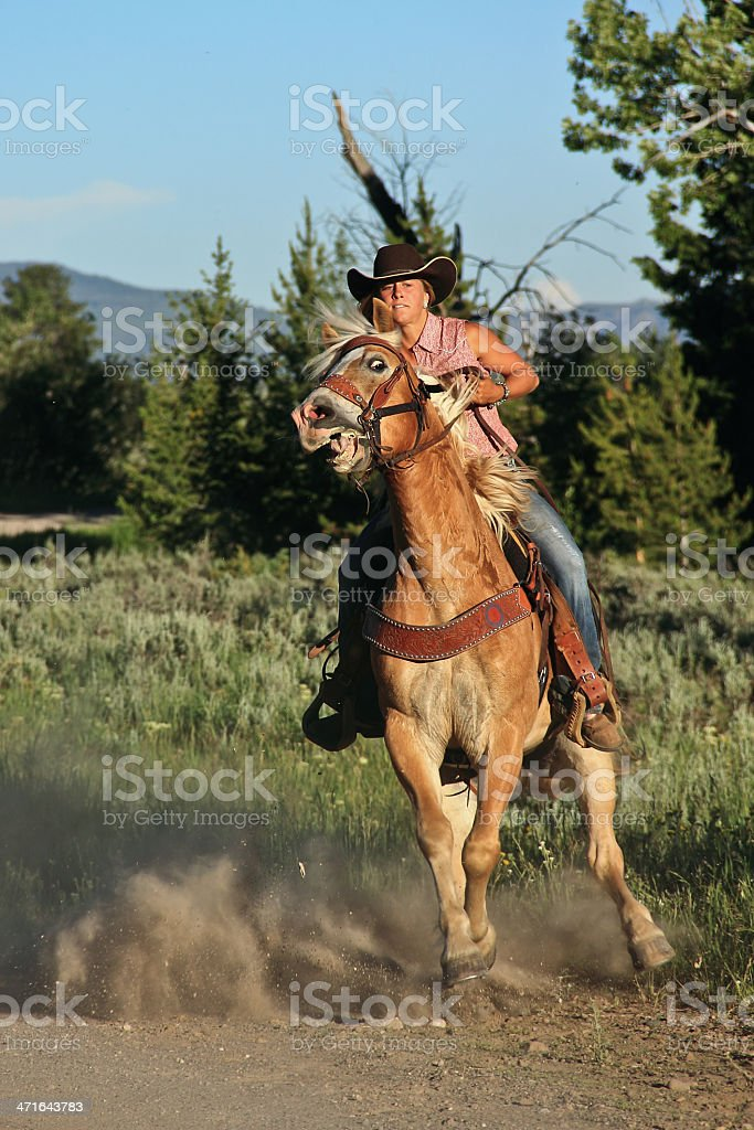 Spooked Horse Ridden By Cowgirl Stock Photo Download Image Now Istock
