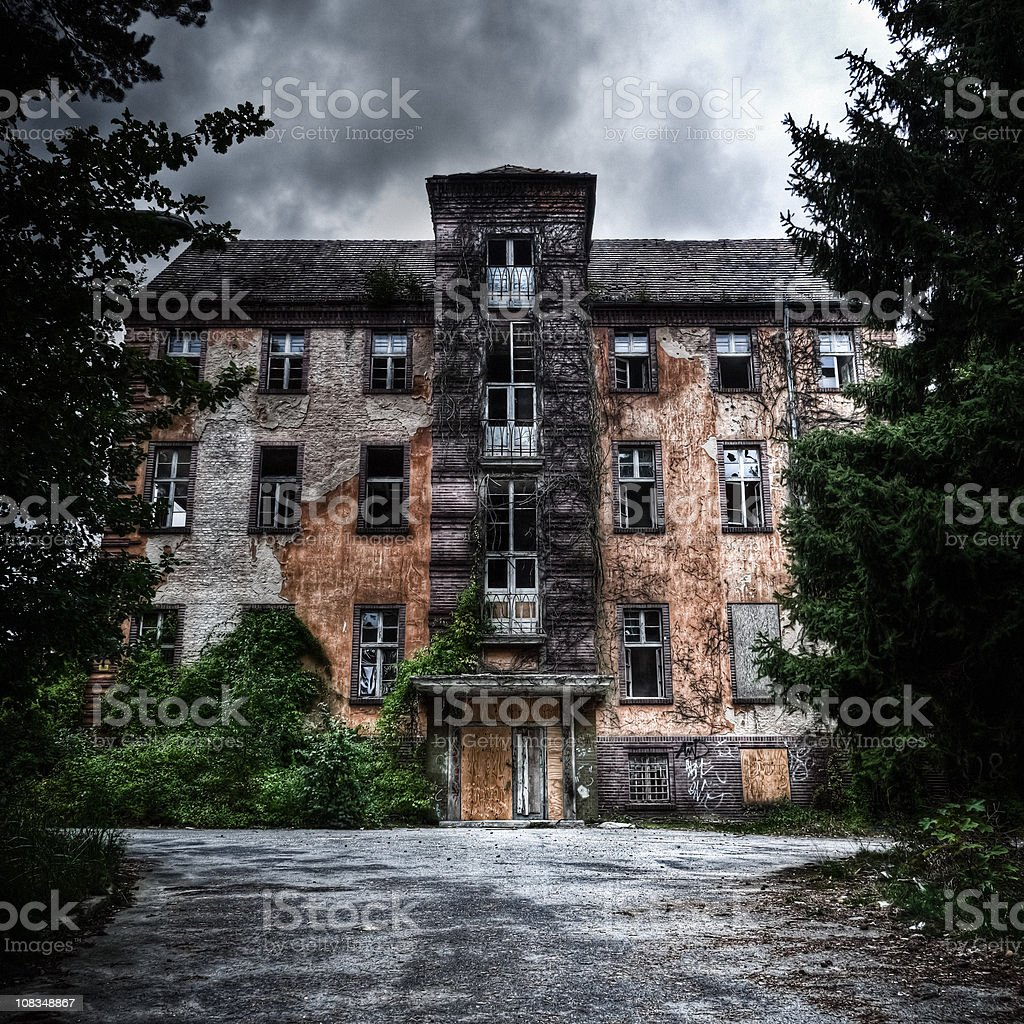 Spooky Abandoned Hospital Building HDR stock photo