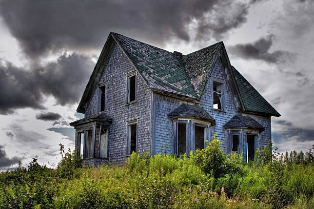 Spooky Abandoned House in New Brunswick stock photo