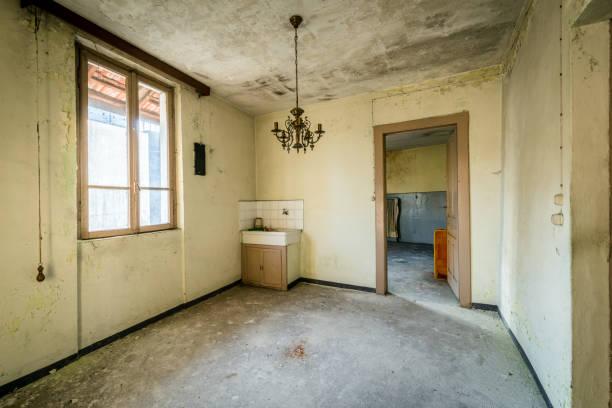 Spooky abandoned house interiors stock photo