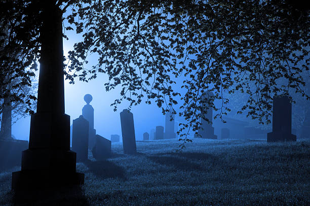 spooky blue graveyard - cemetery stock photos and pictures