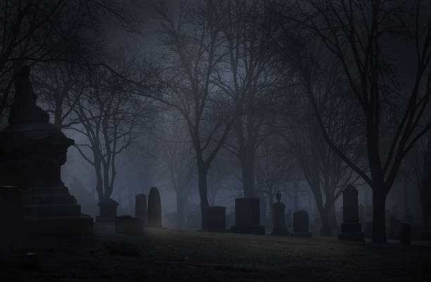 spooky cemetery at night with fog - cimitero foto e immagini stock