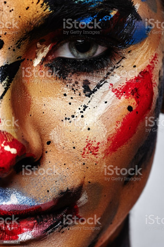 Spooky Clown Halloween creative Make-up stock photo