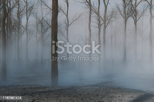 Spooky foggy forest full of walking dead zombies. This is entirely 3D generated image.