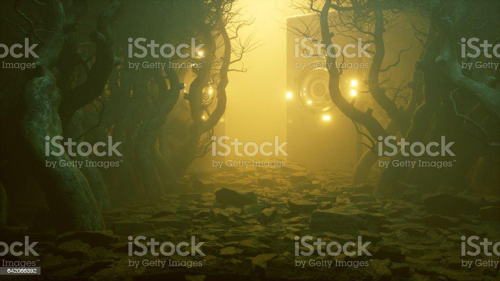 Floresta nevoenta assustador com portões alienígenas misteriosas - foto de acervo