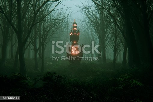 Spooky foggy forest with mysterious alien object.