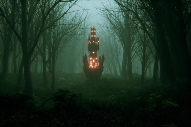 Floresta nevoenta assustador com o misterioso objeto alienígena - foto de acervo