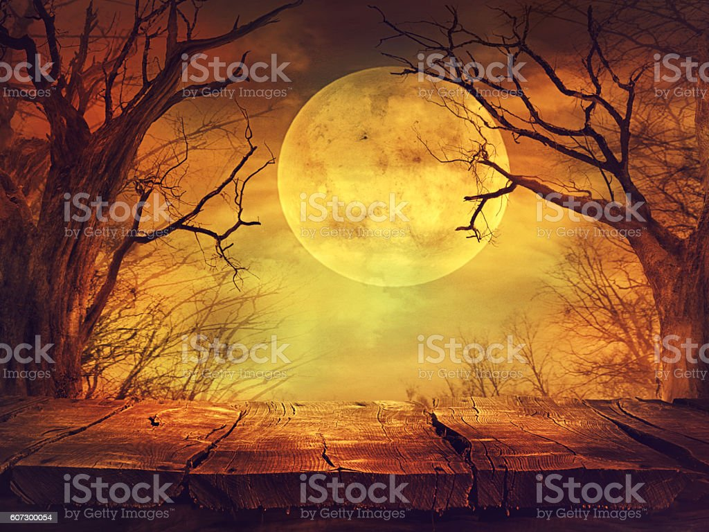 Spooky forest with full moon and wooden table stock photo