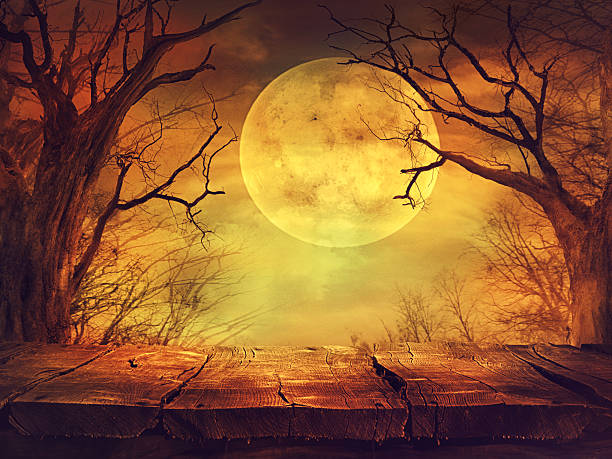 spooky forest with full moon and wooden table - gothic style stock pictures, royalty-free photos & images