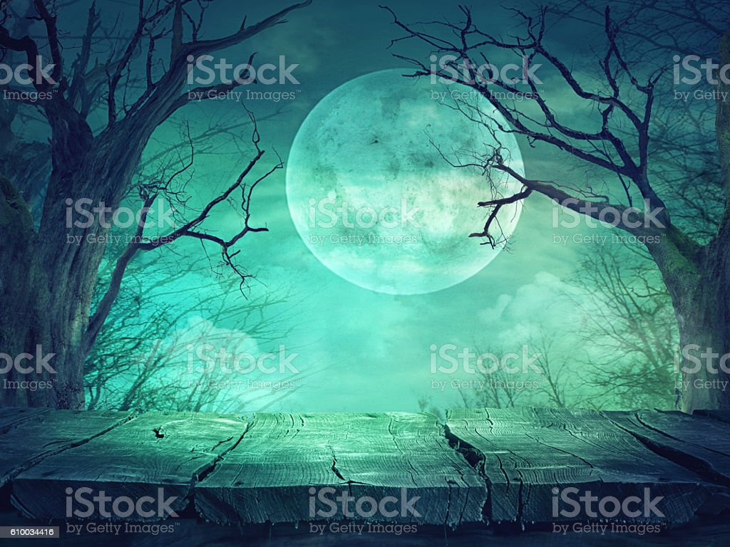 Spooky forest with full moon and wooden table - Photo