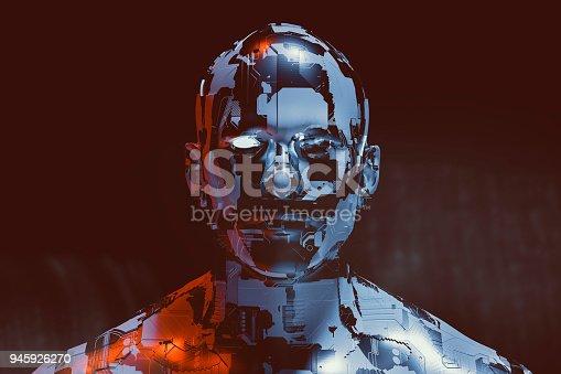 Spooky futuristic male cyborg.