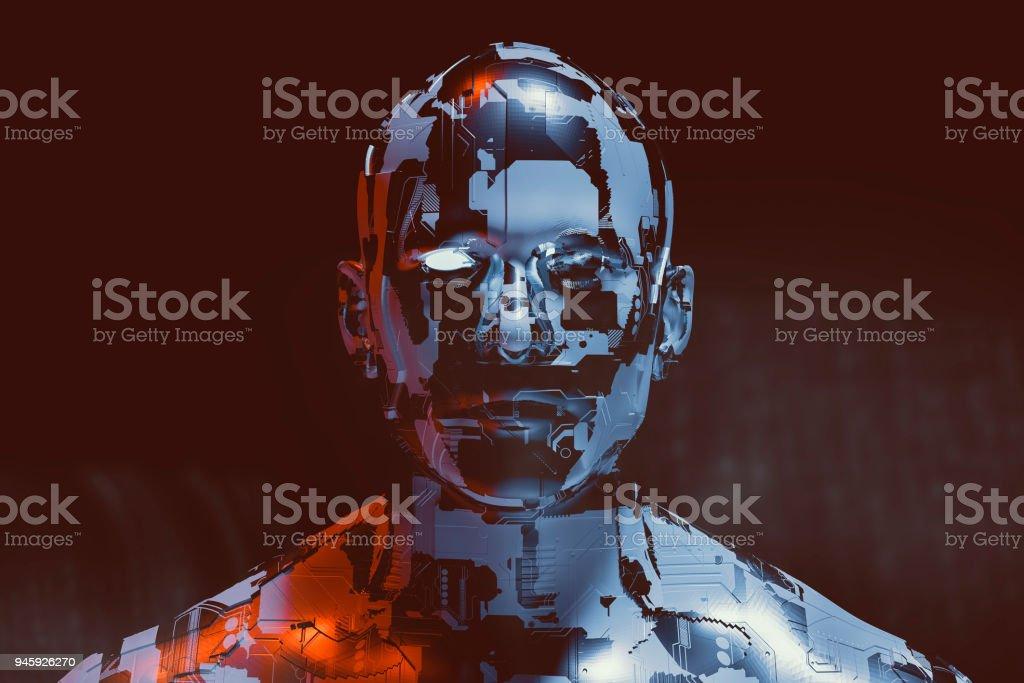 Spooky futuristic male cyborg stock photo