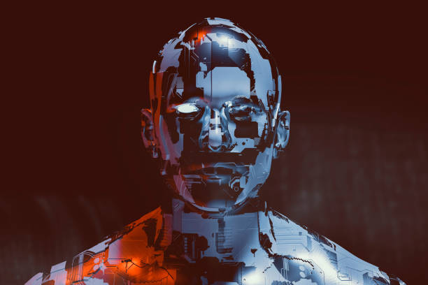 spooky futuristic male cyborg - cyborg stock photos and pictures