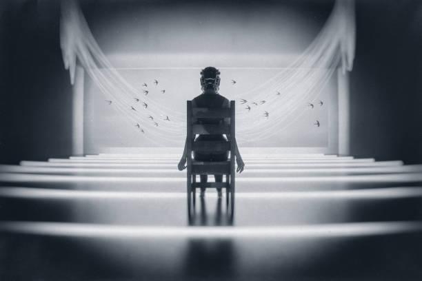 monde futuriste vr - hopital psychiatrique photos et images de collection