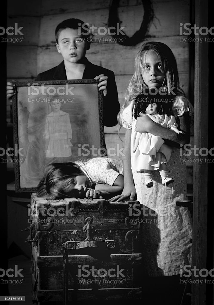 Spooky Ghost Children Posing, Black and White royalty-free stock photo