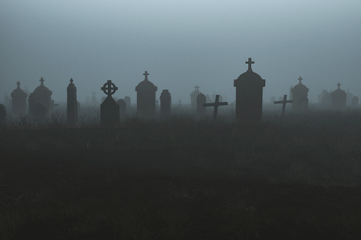 Spooky graveyard at night, 3D generated image.