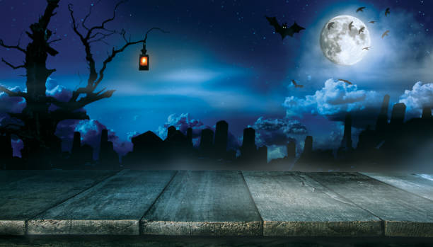 spooky halloween background with empty wooden planks - spooky stock pictures, royalty-free photos & images