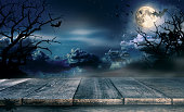 istock Spooky halloween background with empty wooden planks 858952256
