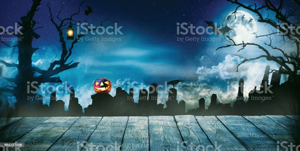 Spooky halloween background with empty wooden planks royalty-free stock photo