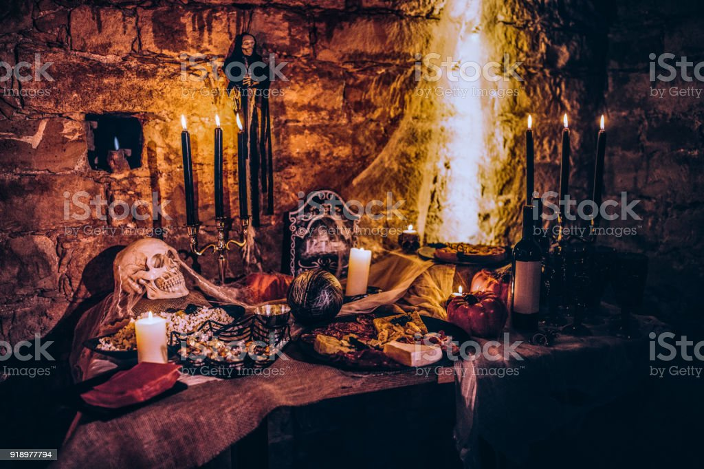 Spooky Halloween decoration with food at scary party