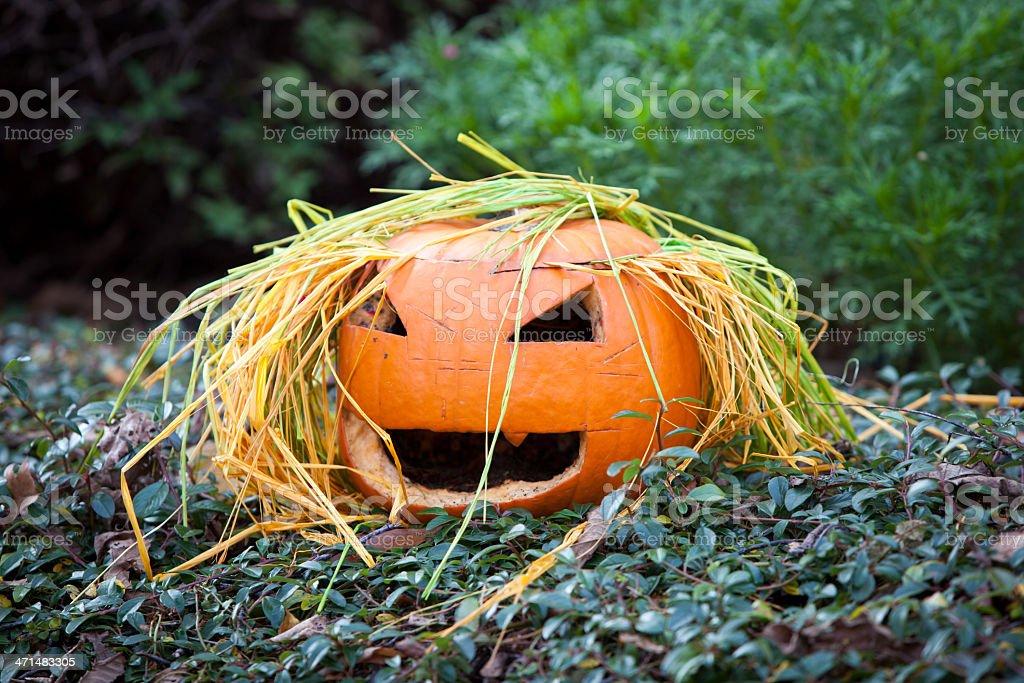 Spooky Halloween Pumpkin Spooky Halloween Pumpkin Anthropomorphic Smiley Face Stock Photo