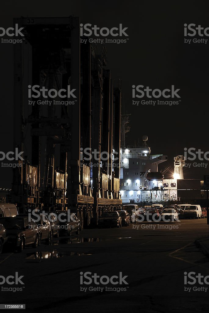spooky harbor and stolen cars royalty-free stock photo